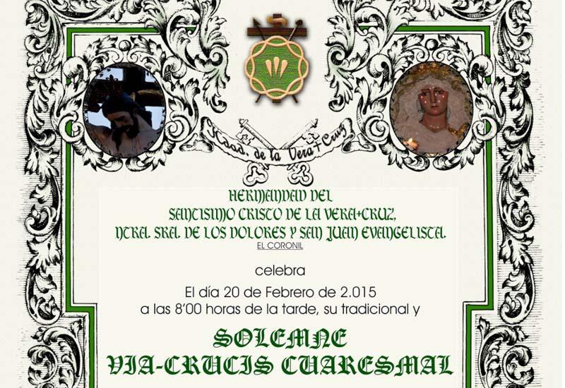 Este viernes la Hermandad de la Veracruz de El Coronil celebra su Tradicional Vía Crucis Cuaresmal