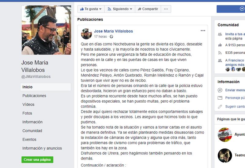 EL ALCALDE DE UTRERA CRITICA LA FALTA DE EDUCACIÓN CÍVICA POR ORINAR EN LAS CALLES