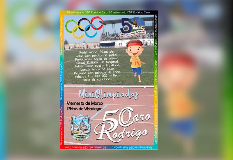Cartel de las Miniolimpiadas organizadas por el CEIP Rodrigo Caro.