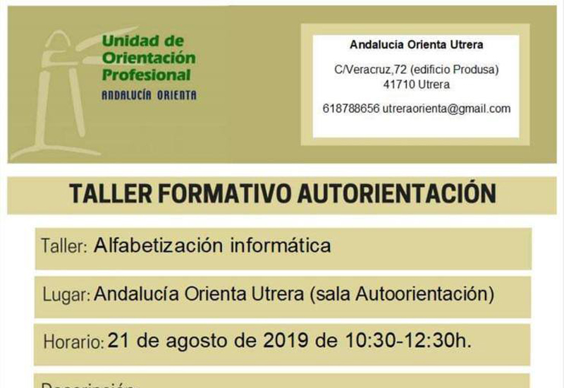 EL AYUNTAMIENTO DE UTRERA PROMUEVE TALLERES FORMATIVOS DE ALFABETIZACIÓN INFORMÁTICA PARA DESEMPLEADOS